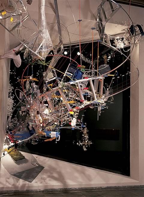 Sarah Sze sculpture: Strange Attractor